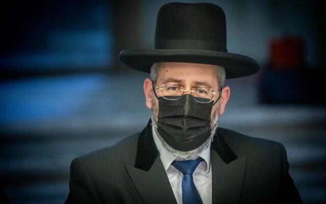 Chief Ashkenazi Rabbi David Lau in Jerusalem, on March 25, 2021. (Yonatan Sindel/Flash90)