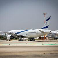 An El Al plane parked at the Ben Gurion Airport near Tel Aviv, April 18, 2021. (Yossi Aloni/Flash90)