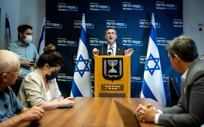 Head of the New Hope party Gideon Saar, leads a faction meeting, at the Knesset on May 31, 2021 (Yonatan Sindel/Flash90)
