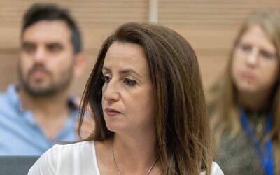 MK Ghaida Rinawie Zoabi attends a Knesset committee meeting in Jerusalem on June 21, 2021. (Yonatan Sindel/Flash90)