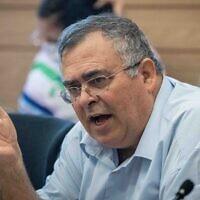 Likud MK David Bitan attends a Knesset Arrangements Committee meeting on June 23, 2021. (Yonatan Sindel/Flash90)