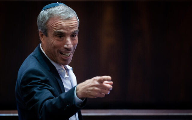 Elazar Stern of the Yesh Atid party attends a plenum session in the Knesset in Jerusalem, on July 6, 2021. (Yonatan Sindel/Flash90)