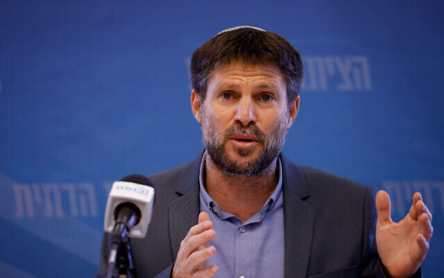 Religious Zionist leader Bezalel Smotrich  speaks during a Knesset faction meeting, on July 12, 2021. (Olivier Fitoussi/Flash90)