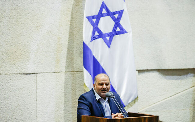 Ra'am chief Mansour Abbas at the Knesset in Jerusalem on July 12 (Olivier Fitoussi/Flash90)