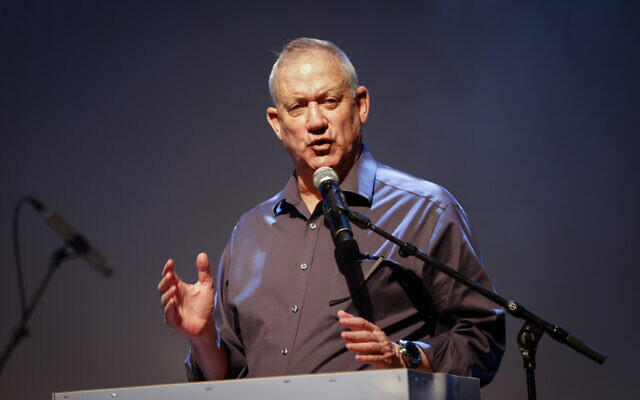 Defense Minister Benny Gantz attends a conference in the Eshkol region, southern Israel. on July 13, 2021. (Flash90)