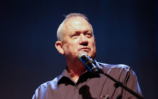 Defense Minister Benny Gantz attends a conference for retired Israelis in the Eshkol region, on July 13, 2021. (Flash90)