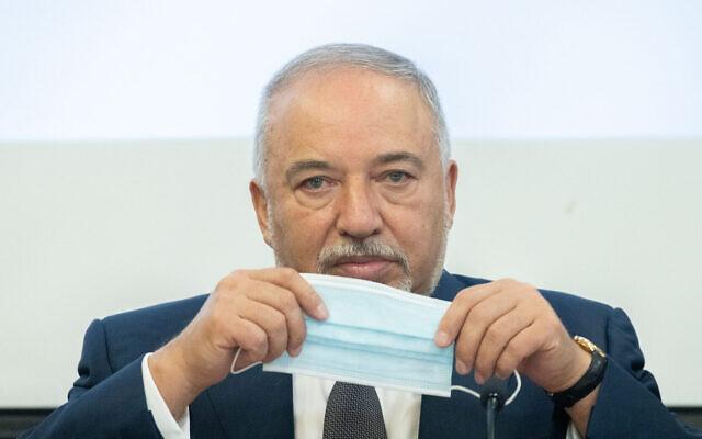 Finance Minister Avigdor Liberman at the Finance Ministry in Jerusalem, on July 21, 2021. (Yonatan Sindel/Flash90)