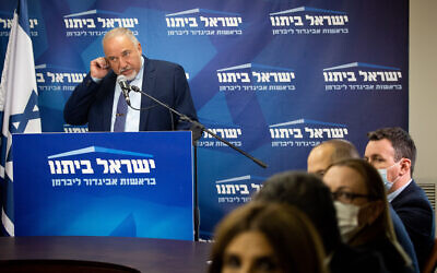 Finance Minister Avigdor Liberman speaks during a faction meeting of his Yisrael Beytenu party at the Knesset, on July 26, 2021. (Yonatan Sindel/Flash90)