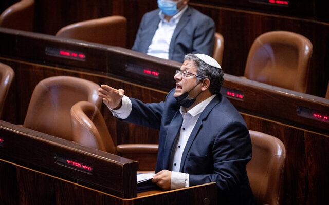 MK Itamar Ben Gvir at the Knesset on July 26, 2021. (Yonatan Sindel/Flash90)
