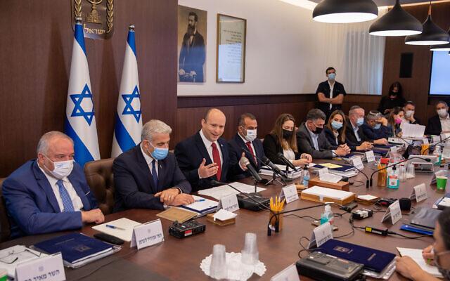 Prime Minister Naftali Bennett, center, leads a cabinet meeting at the Prime Minister's Office in Jerusalem on August 1, 2021.  (Emil Salman/Flash90)