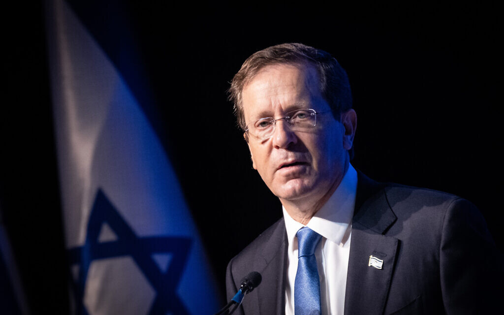 President Isaac Herzog speaks during a conference organized by the Besheva group in Jerusalem, on August 1, 2021. (Yonatan Sindel/Flash90)