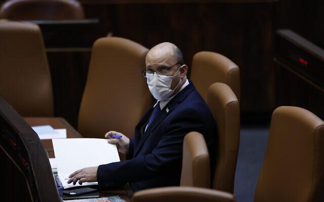 Prime Minister Naftali Bennett at the Knesset in Jerusalem on August 2 2021. (Yonatan Sindel/Flash90)