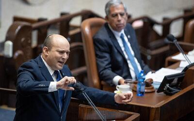 Prime Minister Naftali Bennett speaks in the Knesset on August 2, 2021. (Yonatan Sindel/Flash90)