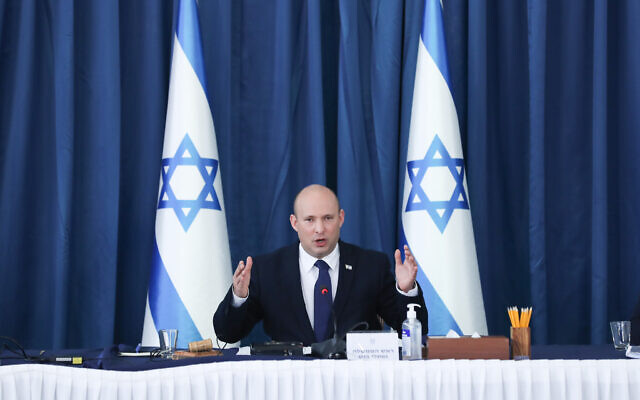 Prime Minister Naftali Bennett leads a cabinet meeting at the Prime Minister's Office in Jerusalem on August 8, 2021.  (Ohad Zwigenberg/POOL)