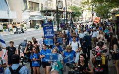 Pro-Israel demonstrators protest in New York City against Ben and Jerry's over its settlement boycott on August 12, 2021. (Luke Tress/Flash90)