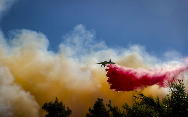 Firefighters try to extinguish a blaze which broke out in a forest near near Beit Meir, outside of Jerusalem on  August 15, 2021. (Yonatan Sindel/Flash90)