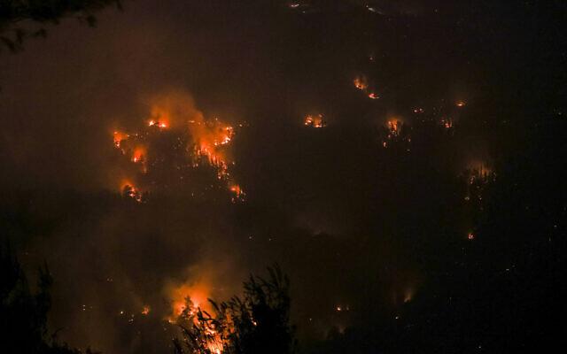 A wildfire in a forest near Beit Meir, outside of Jerusalem, on August 15, 2021. (Yonatan Sindel/Flash90)
