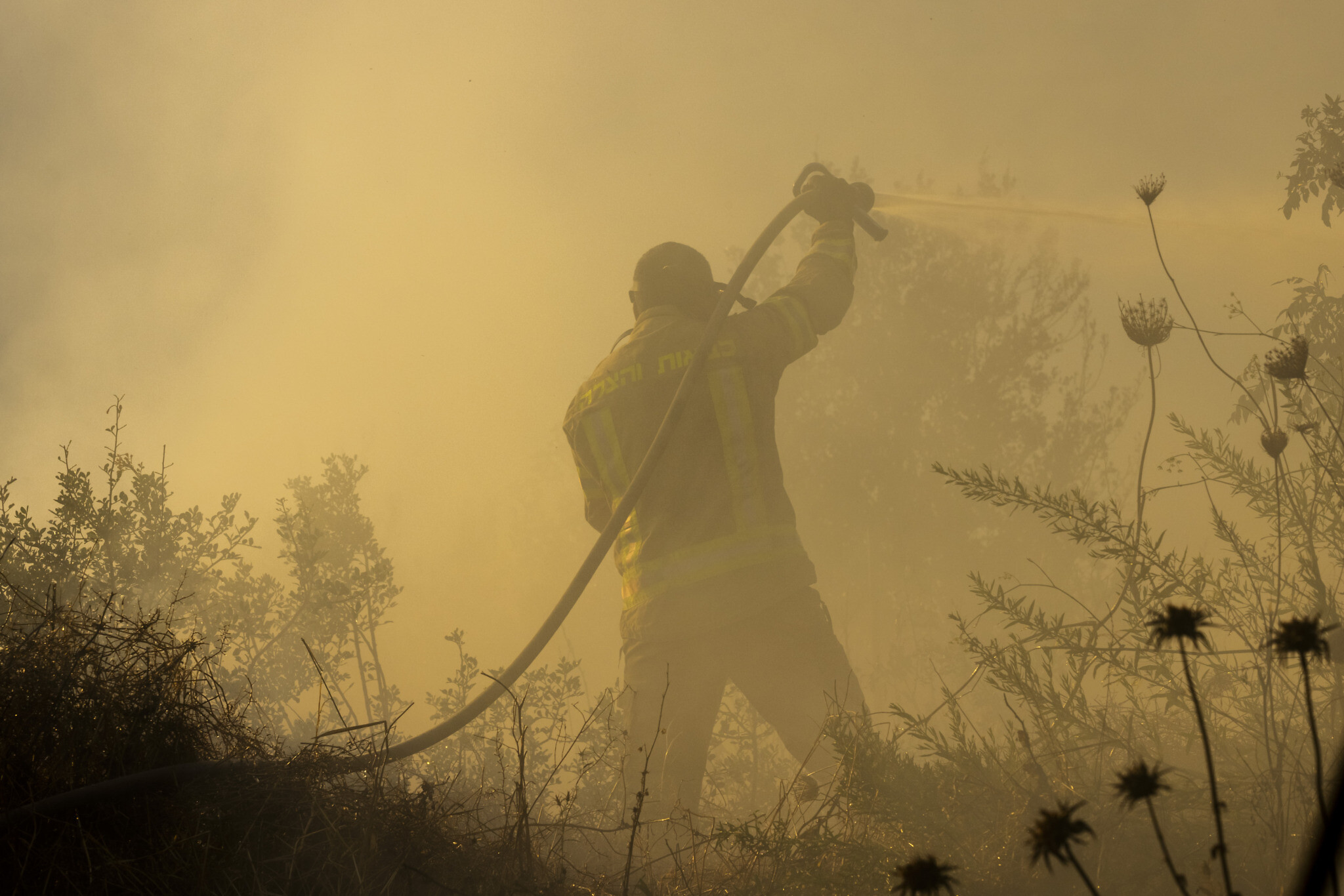 Firefighters try to extinguish a fire near Givat Ye'arim, near Jerusalem, August 16, 2021. (Olivier Fitoussi/Flash90)