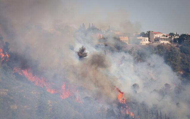 A wildfire nearing Givat Yearim outside Jerusalem, August 16, 2021. (Yonatan Sindel/Flash90)