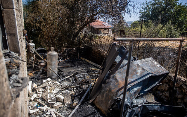 View of the damage caused to a house in Moshav Giv'at Ye'arim, following a major fire which broke out yesterday, August 17, 2021. (Yonatan Sindel/Flash90)