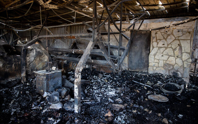 View of the damage caused to Metzuda Winery following a major fire which broke out in Moshav Giv'at Ye'arim, outside Jerusalem, August 17, 2021. (Yonatan Sindel/Flash90)