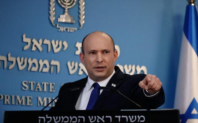 Prime Minister Naftali Bennett holds a press conference at his office in Jerusalem on August 18, 2021. (Yonatan Sindel/Flash90)
