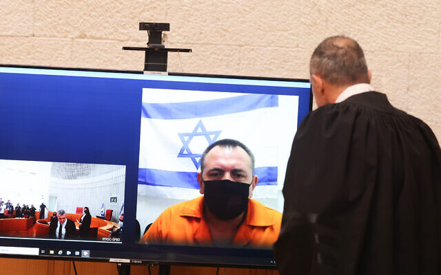 Roman Zadorov is seen an an appeal hearing at the Supreme Court in jerusalem, on August 20, 2021. (Yonatan Sindel/Flash90)