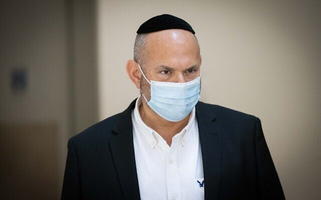Eli Friend, manager of the gravesite of Rabbi Shimon Bar Yochai, arrives to testify before the Meron Disaster Inquiry Committee, in Jerusalem, on August 24, 2021. (Yonatan Sindel/Flash90)