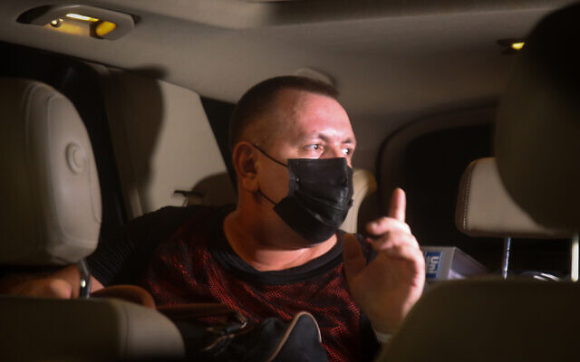 Roman Zadorov outside Shata Prison in northern Israel after being released to house arrest ahead of a retrial, August 26, 2021. (David Cohen/Flash90)