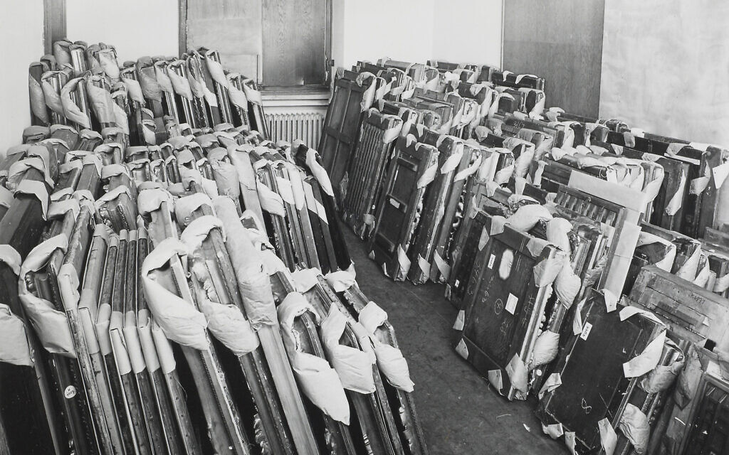 Looted artworks in storage at the Central Collecting Point, Munich, circa 1945-1949. (Johannes Felbermeyer/ Getty Research Institute, Los Angeles)