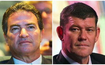(L) Head of the Mossad Yossi Cohen speaks at a Cyber conference at  Tel Aviv University on June 24, 2019. (Flash90). (R) James Packer at a news conference of the Studio City project in Macau, October 27, 2015. (AP Photo/Kin Cheung)