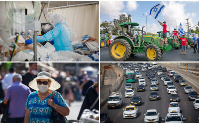 Top left, Shaare Zedek Medical Center staff (Olivier Fitoussi/Flash90), top right, Israeli farmers block junctions (Yossi Aloni/Flash90) Bottom left, Woman at the Mahane Yehuda market (Olivier Fitoussi/Flash90) Bottom right, Traffic jams on the Ayalon highway (Miriam Alster/FLASH90)