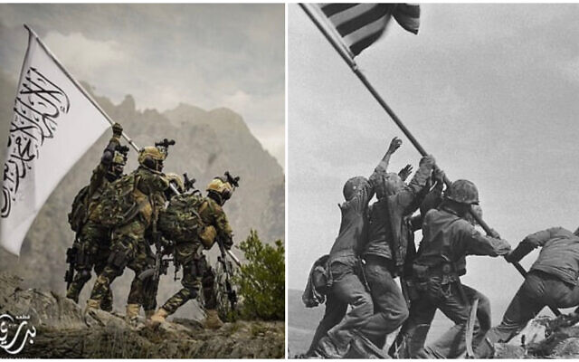 (L) An apparent image of Taliban fighters raising a flag in a mockery of iconic WWII photo (R) In this Feb 23, 1945 file photo, US Marines of the 28th Regiment, 5th Division, raise the American flag atop Mt. Suribachi, Iwo Jima, Japan. (AP Photo/Joe Rosenthal, File)