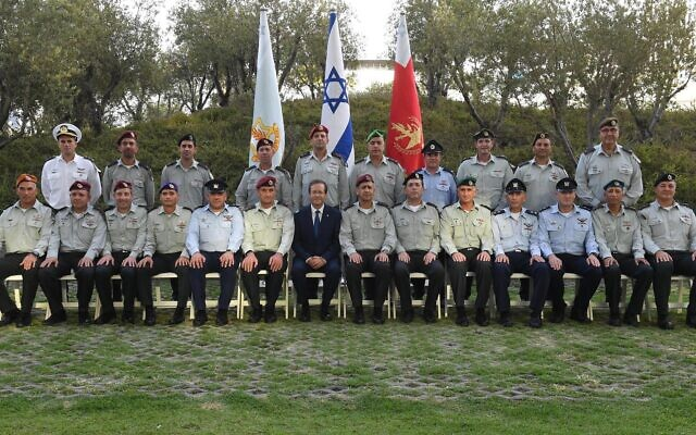 President Isaac Herzog meets with members of the IDF General Staff at the Kirya military base in Tel Aviv, on August 9, 2021. (Mark Neyman/GPO)