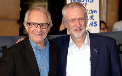 """Ken Loach, left, and Jeremy Corbyn attend the """"I, Daniel Blake"""" people's premiere at Vue West End on October 18, 2016 in London, England.  (Anthony Harvey/Getty Images)"""