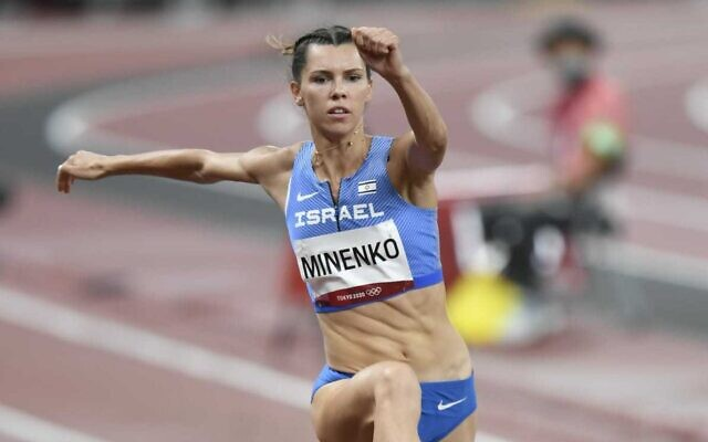 Israel's Olympic long jumper Hanna Knyazyeva-Minenko at the 2020 Tokyo Olympics, on July 30, 2021. (Israel Olympic Committee)