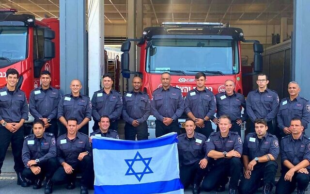 A delegation from Israel's Fire and Rescue Services ahead of its departure for Greece to assist in putting out a spate of wildfires in the country on August 6, 2021. (Fire and Rescue Service)