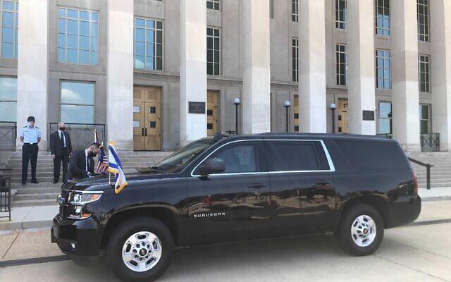 Prime Minister Naftali Bennett's car outside the Pentagon building in Washington, August 25, 2021. (Lazar Berman/Times of Israel)