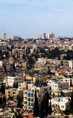 A panorama of the Sheikh Jarrah neighborhood of Jerusalem, with Jerusalem's city center in the background, taken March 2009. (Wikipedia/David Shankbone/CC BY)