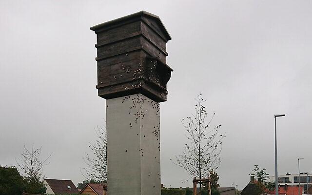 "The statue ""Latvian Beehive"" in Zedelgem, Belgium. (Okupacijas Muzejs via JTA)"