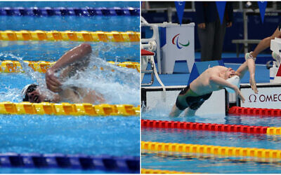 Israeli swimmers Ami Dadaon (L) and Mark Malyar (R) compete in the Tokyo 2020 Paralympic Games, August 30, 2021. (Keren Isaacson/IPC)