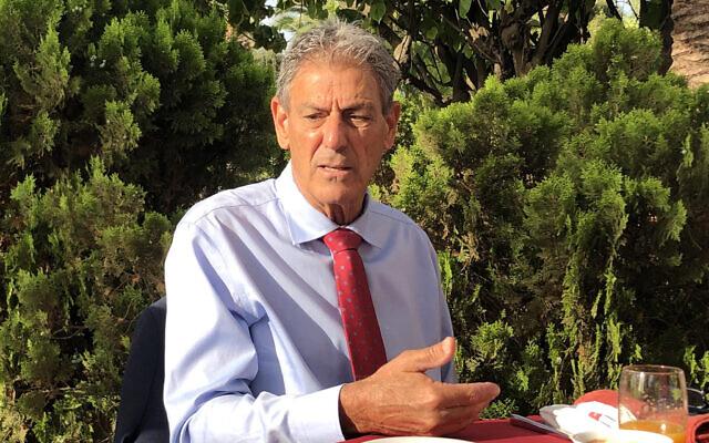 Yesh Atid MK Ram Ben Barak recounts the origin of Morocco-Israel normalization in Rabat, on August 12, 2021. (Lazar Berman/Times of Israel)