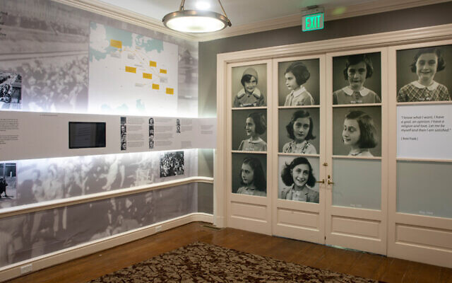 Part of the permanent exhibition of the Anne Frank Center at the University of South Carolina in Columbia. (The University of South Carolina via JTA)