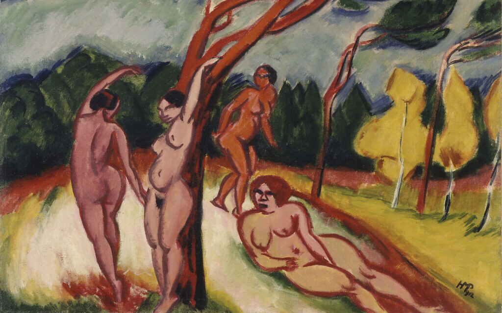 Detail from Max Pechstein's landscape, 1912. (Estate of Hugo Simon. © Pechstein Hamburg / Tökendorf / Artists Rights Society (ARS), New York; image provided by CNAC/MNAM, Dist. RMN-Grand Palais / Art Resource, New York. Photo by Philippe Migeat/ Courtesy of Jewish Museum NYC)