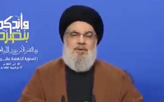 Hezbollah chief Hassan Nasrallah gives a speech, on August 7, 2021. (Screen capture: Twitter)