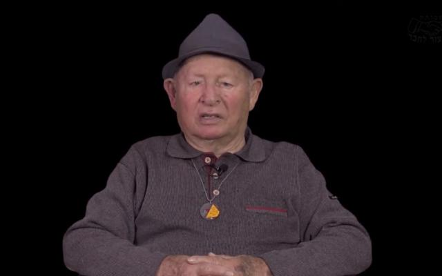 Warsaw Ghetto survivor Shalom Stamberg is interviewed in 2017. (Screen capture/YouTube)