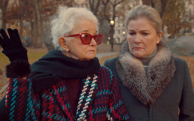 """Meyerson matriarch Celeste (Barbara Barrie) and her daughter Terri (Kate Mulgrew) discuss the meaning of life in """"The Magnificent Meyersons."""" (Argot Pictures via JTA)"""