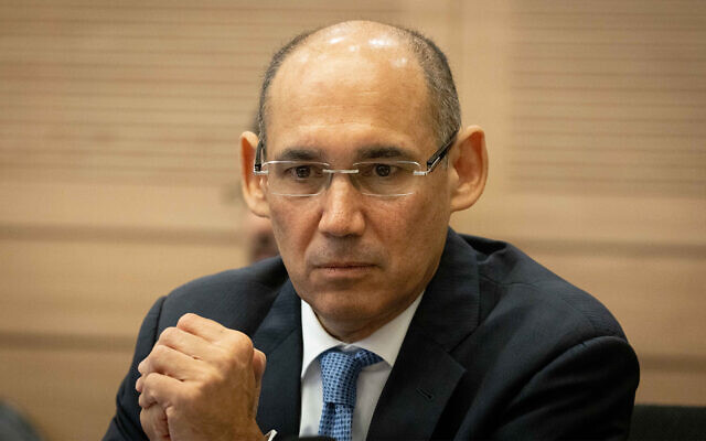 Governor of the Bank of Israel Amir Yaron attends a Finance committee meeting in the Knesset in Jerusalem, June 23, 2021. (Yonatan Sindel/Flash90)
