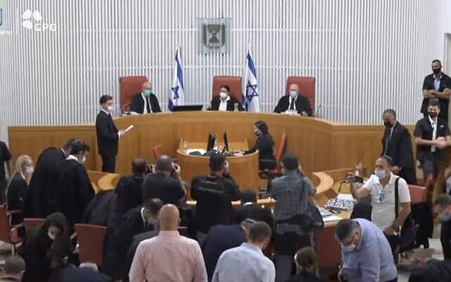 A High Court discussion of a petition by opposition lawmakers against the makeup of Knesset committees, in Jerusalem, August 9, 2021. (Screenshot: Twitter)