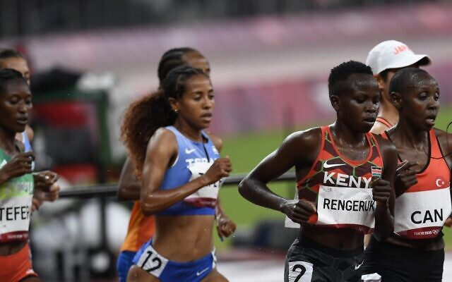 Israeli runner Selamawit Teferi runs in the finals of the women's 5000m meter race at the Tokyo 2020 Olympics on August 2, 2021. (Amit Shisel/Israel Olympic Committee)